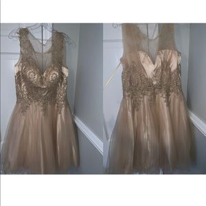All gold lace dress